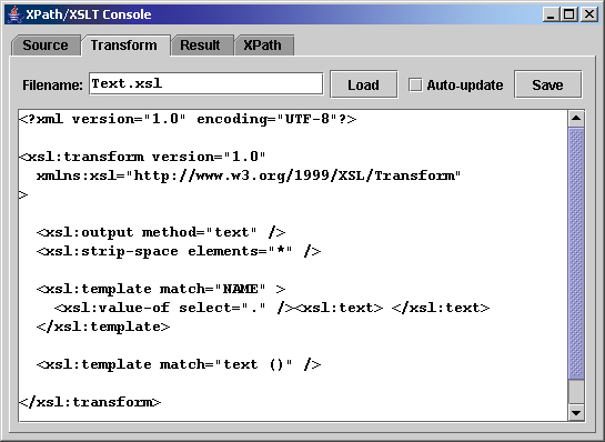 XSLT Console screenshot