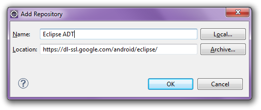 Eclipse ADT add site
