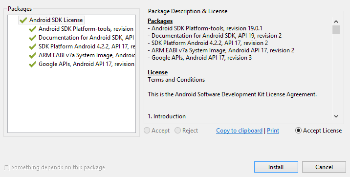 Android SDK manager accept license agreements