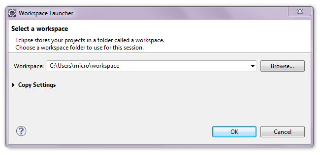 Eclipse choose workspace